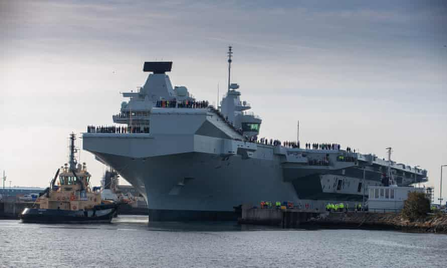 Britain's newest aircraft carrier, HMS Prince of Wales, leaving Rosyth Dockyard in Scotland for the first time.