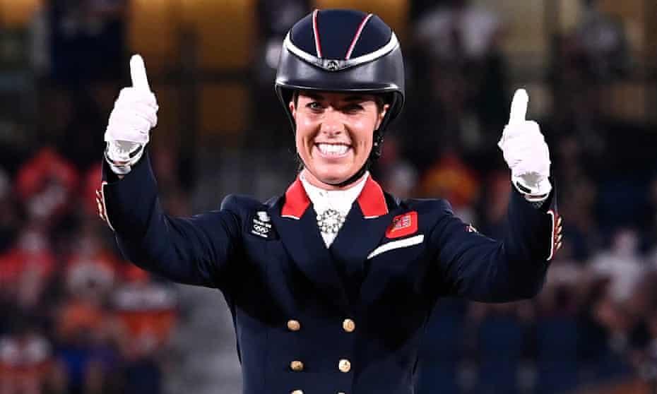 Great Britain's Charlotte Dujardin celebrates her bronze-winning performance with Gio.