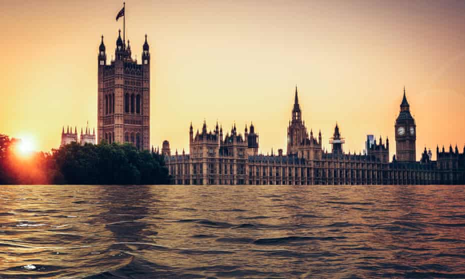 house of commons and palace of westminster appearing to be below the waterline