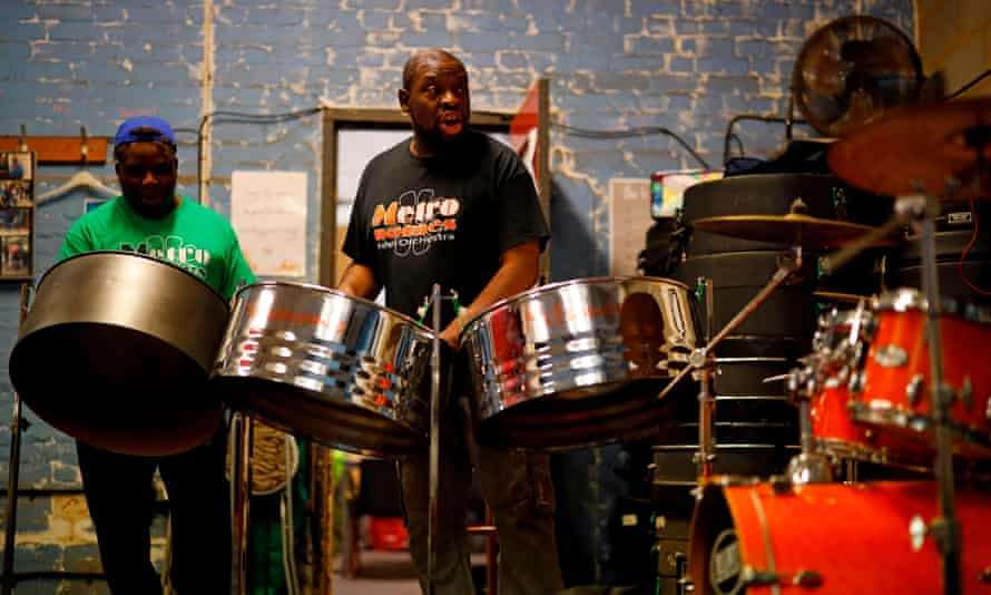 The steelband Metronomes livestream a performance