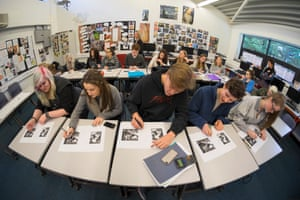 AS-level Art History students at Godalming College, Surrey take a lesson on Guernica by Picasso in 2014.