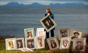Margaret Ferguson with some of her portraits
