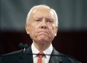 Orrin Hatch speaks during the Utah Republican Party 2016 nominating convention.