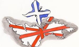 Illustration by Andrzej Krauze of detached Scotland turning into saltire sword to menace England