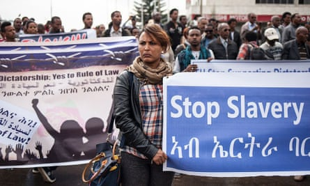 Eritreans demonstrate in front of the African Union headquarters in Addis Ababa, asking for measures to be taken against the country over human rights violations