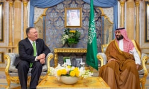 Mike Pompeo, US secretary of state, meets the Saudi crown prince, Mohammed bin Salman