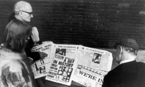 'A day in history', 'We're in' – headlines on the day the UK joined the European Economic Community.