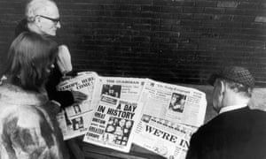 The public read of the UK's entry to the then European Economic Community on 1 January 1973 in the newspapers