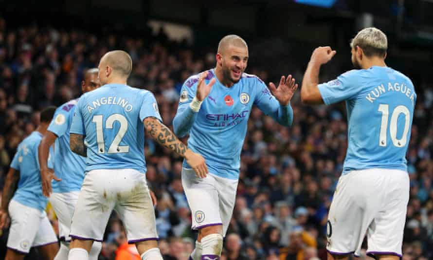 Manchester City goalscorers Kyle Walker and Sergio Agüero celebrate Walker's goal against Southampton.