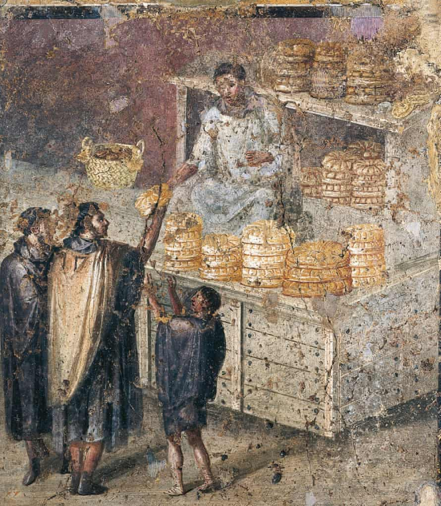 A fresco depicting the distribution of bread from a tablinum at Pompeii.