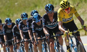 Chris Froome leads his Team Sky team-mates on stage 16 of the 2016 Tour de France.