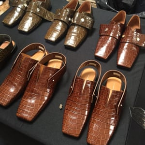 The masculine shoes lined up pre-show.