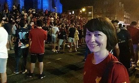 Gina Tsang celebrating in Liverpool.
