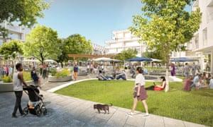 Architectural rendering of Facebook's proposed Willow Campus in Menlo Park, California.