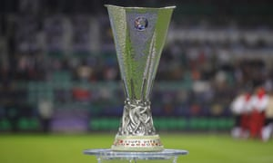 The prize they're all going for: the Europa League trophy, here shown before last season's final.