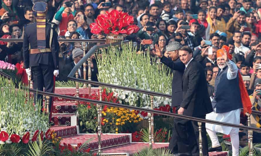 Brazilian president Jair Bolsonaro (second right) and Indian prime minister Narendra Modi