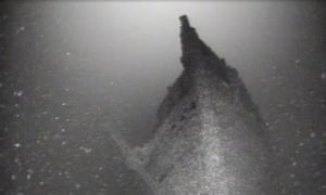 This August 2015 photo taken from video provided by Roger Pawlowski, shows the bow of the sunken ship Bay State in Lake Ontario near Fair Haven, New York.