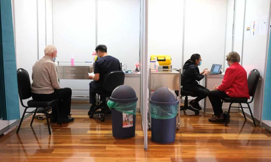 Nursing staff at the mass vaccination hub at the Royal Exhibition Building in Melbourne, Australia