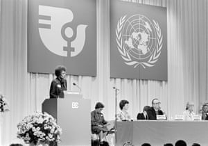 Lucille Mair, secretary general of the second international women's conference, speaks at the opening ceremony in Copenhagen in July 1980.
