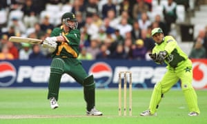 Klusener drives the winning runs for South Africa against Pakistan at Trent Bridge.