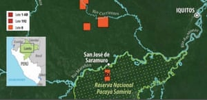 Map showing  where oil operations, marked by red box '8x', take place in the Pacaya Samiria National Reserve in Peru's Amazon.