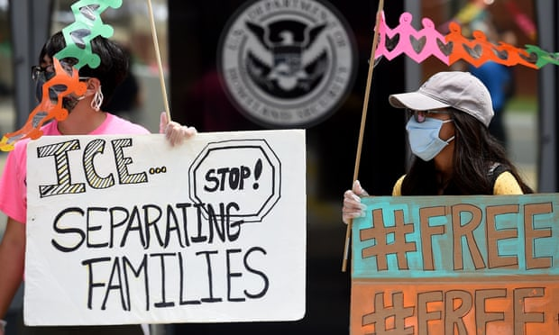 A protest outside the headquarters of Ice in Washington in June last year. Photograph: Olivier Douliery/AFP/Getty Images