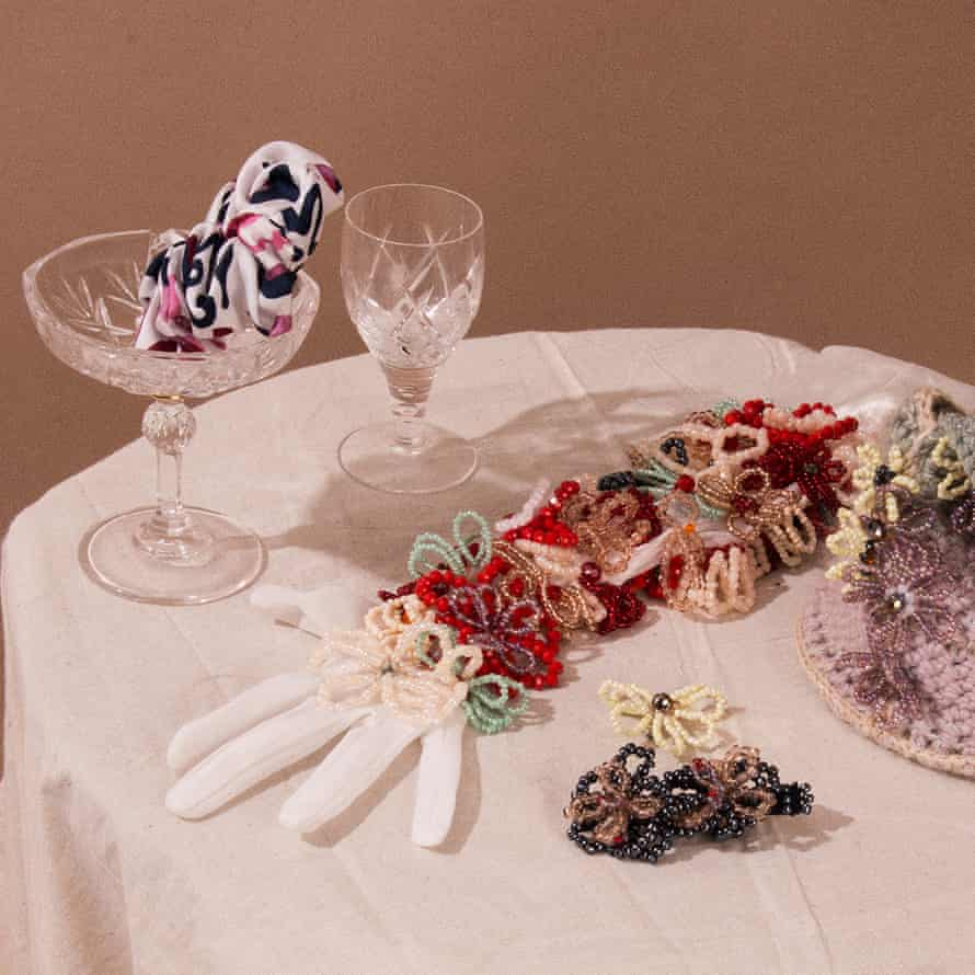 A table with homemade accessories