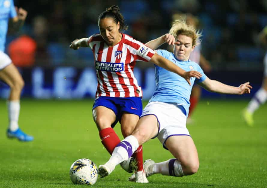 Aoife Mannion (right) injured a knee ligament against Atlético Madrid.