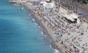 The beach and the Promenade des Anglais in Nice, photographed on Sunday.