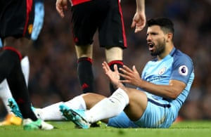 Sergio Aguero is frustrated as another shot is easily saved by De Gea.