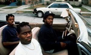 Ice Cube, far right, in Boyz N the Hood.