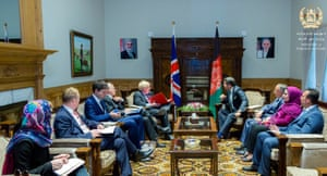 Boris Johnson, the foreign secretary (centre left), and Hekmat Khalil Karzai, the deputy foreign minister of Afghanistan (centre right), during a meeting in Kabul, Afghanistan