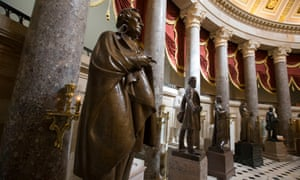 A statue of Jefferson Davis, president of the Confederate states of America, in Statuary Hall on Capitol Hill in Washington