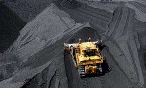 A truck in a coal mine.