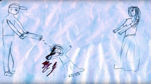 Picture drawn by refugee/displaced child, used in the film clip of Oh Canada