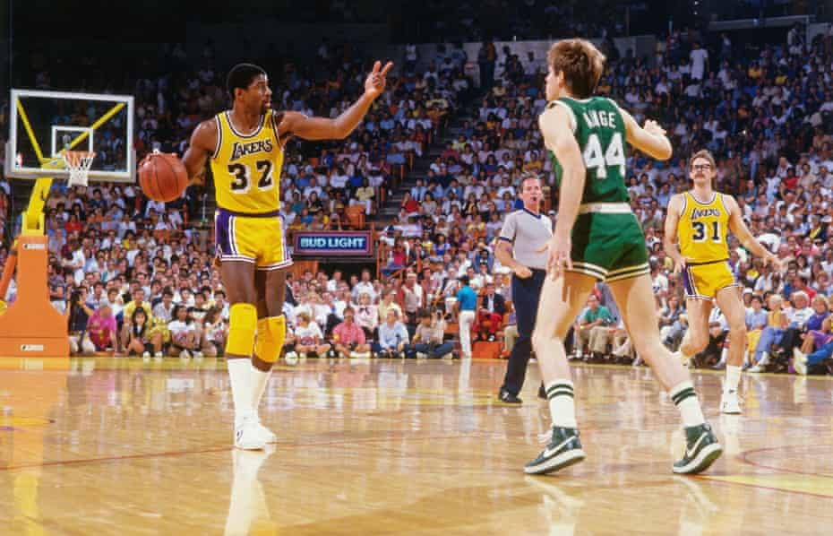 Johnson on court for the Los Angeles Lakers against the Boston Celtics at The Forum, LA, in 1988.