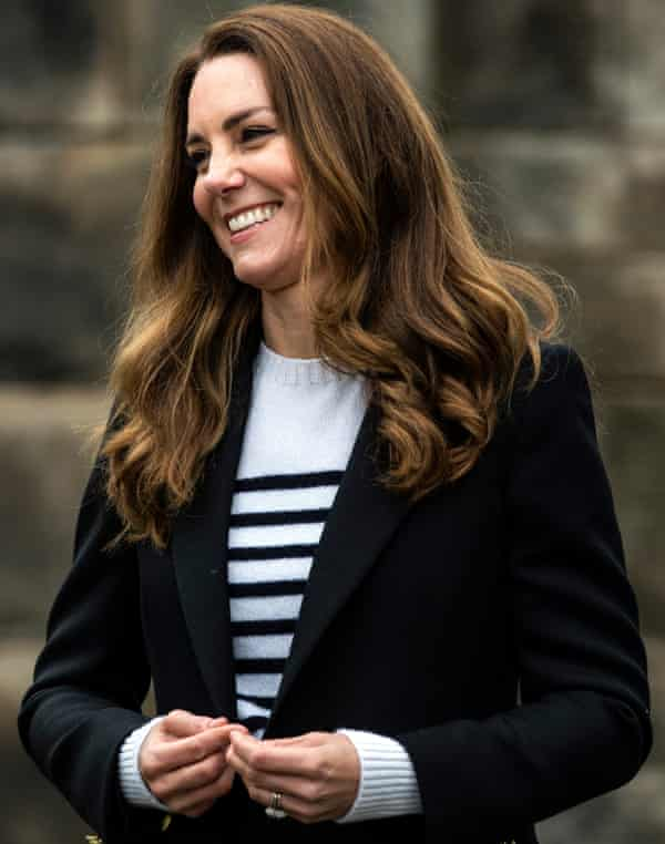 The Duchess of Cambridge wears the Breton look during a visit to the University of St Andrews