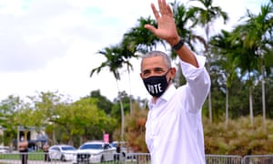 Obama at a rally in Miami on Saturday. On Tuesday he spoke in Orlando and said: 'We can't afford four more years of this. We cannot afford this kind of incompetence and disinterest.'