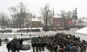 US and Polish troops participate in the official welcome event for the US army.
