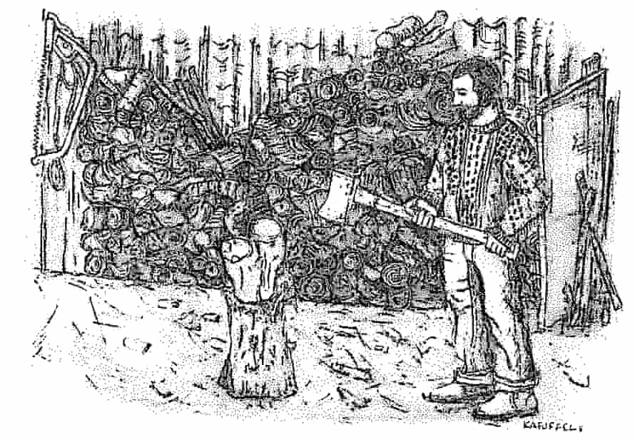 A pencil drawing by Kirsty Alston of a man chopping wood with an axe