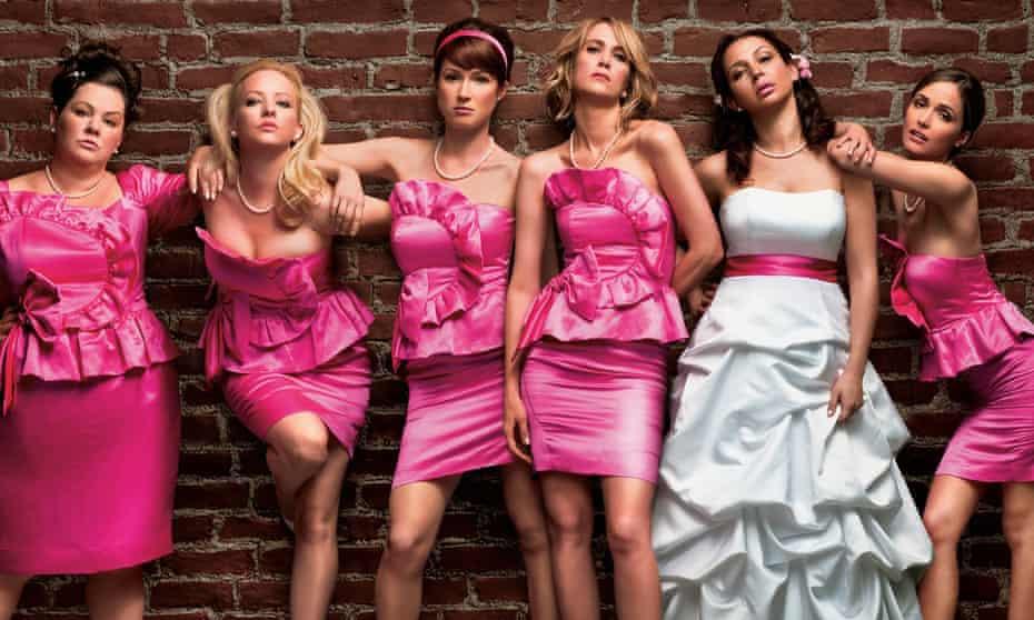Melissa McCarthy, Wendi McLendon-Covey, Ellie Kemper, Kristen Wiig, Maya Rudolph and Rose Byrne in Bridesmaids.