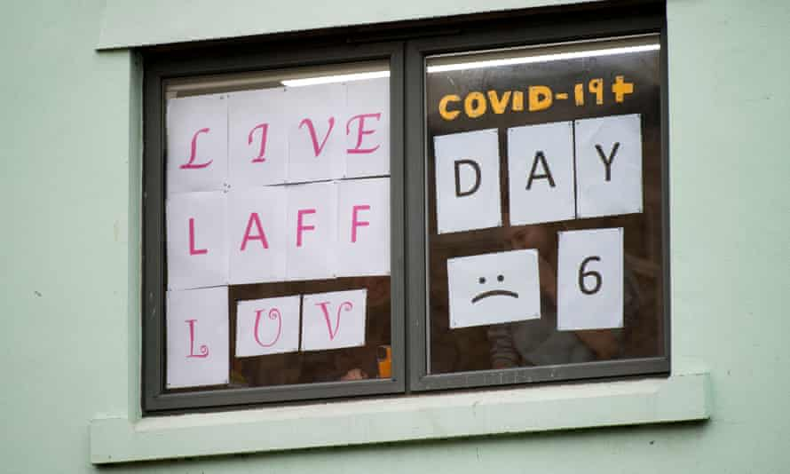 Students Isolating in accommodation at Cardiff University display messages on windows, October 12 2020.