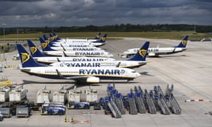 Ryanair aircraft at Stansted airport