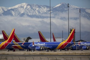 Southwest Airlines jets parked at Southern California logistics airport in Victorville on 24 March.