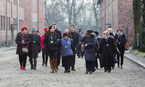 Auschwitz-Birkenau survivors visit the site last month on the 71st anniversary of liberation.