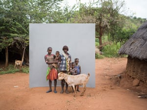 family group with goat