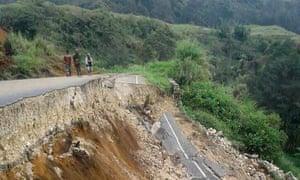 Damage to a road near Mendi in Papua New Guinea's highlands region.