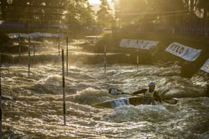 Slovenia's Peter Kauzer during a training session for the 2019 ICF Canoe Slalom World Championships in La Seu d'Urgell