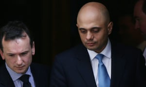 The business secretary, Sajid Javid, right, and the Welsh secretary, Alun Cairns, leave Downing Street following crisis talks with David Cameron.