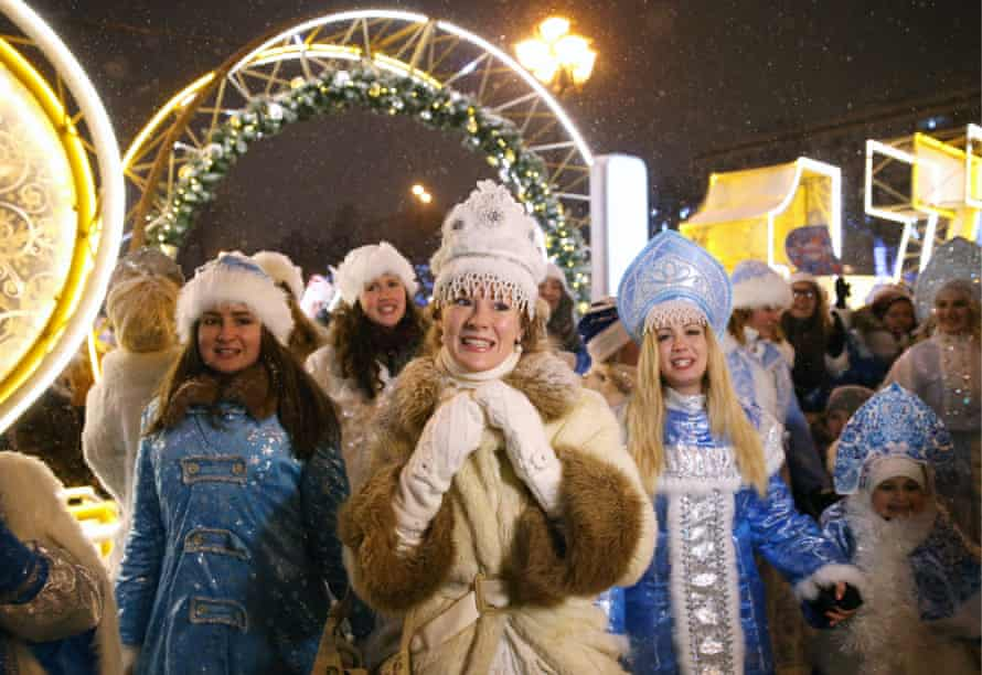 Moored in Russian culture … a modern-day Parade of Snow Maidens in Moscow.